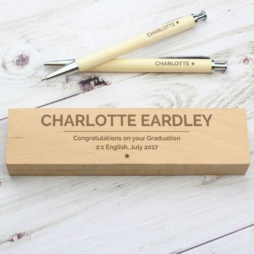 Classic Wooden Pen & Pencil Box Set